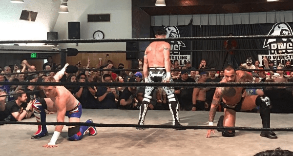 (From left to right) Will Ospreay, Matt Sydal, and Ricochet pose for the camera during their match on Night 2 of Pro Wrestling Guerrilla's Battle of Los Angeles 2016.