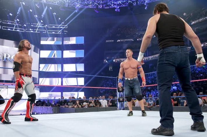 AJ Styles defends his WWE Championship against John Cena and Dean Ambrose at WWE No Mercy on October 9, 2016.