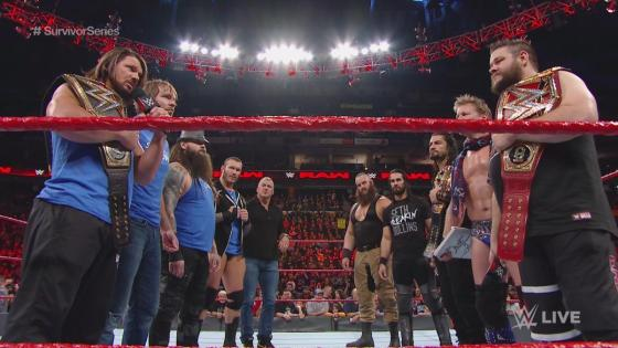 Team SmackDown Live and Team Raw face off prior to their Survivor Series match on WWE Monday Night Raw, Nov. 14, 2016.