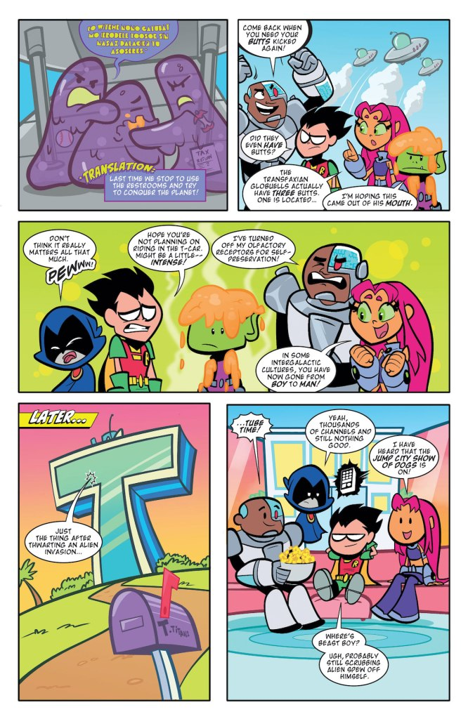 """Teen Titans Go! features the stories """"Buttered-Fries Effect"""" and """"Beast in Show."""""""