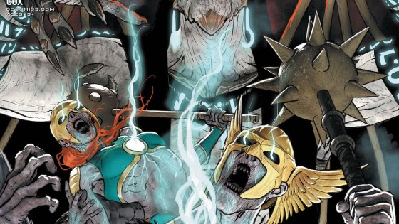 Hawkman and Hawkwoman wage war against the Lord Beyond the Void.
