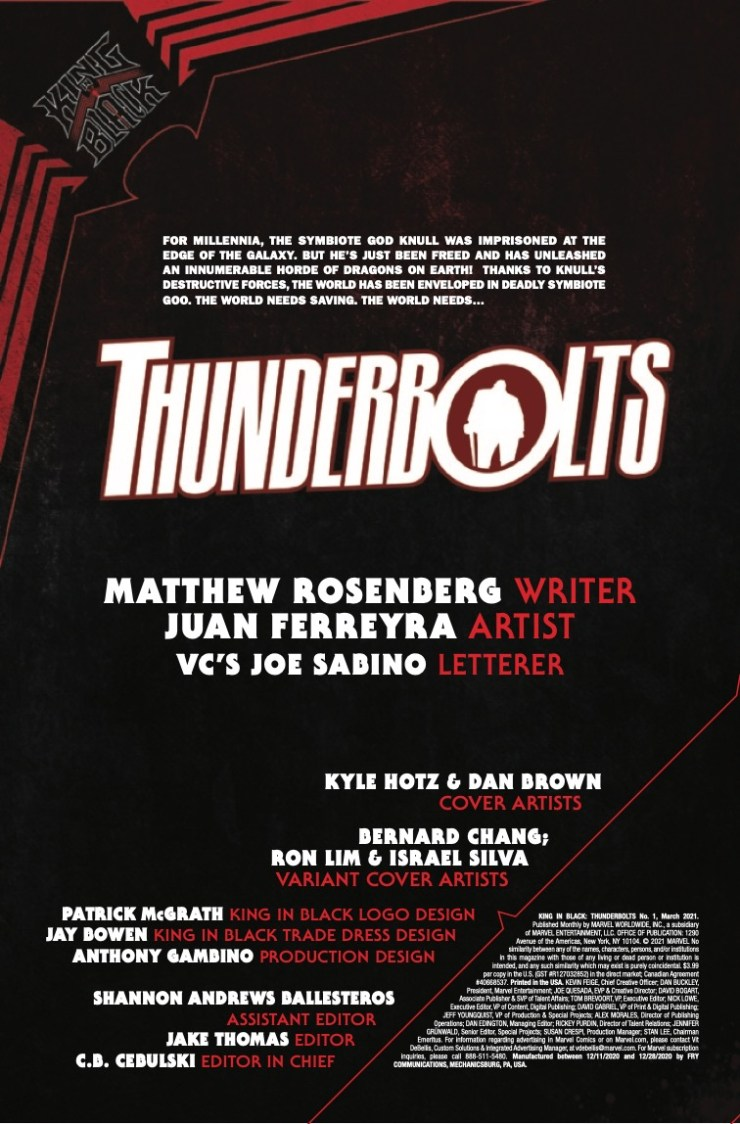 Marvel Preview: King in Black: Thunderbolts #1
