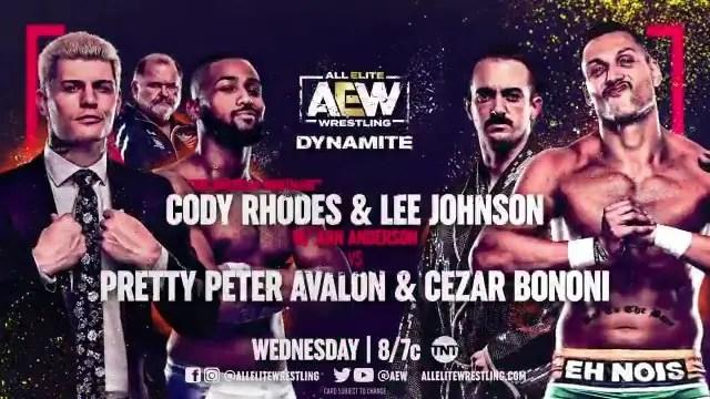 AEW Dynamite - Cody Rhodes and Lee Johnson vs. Pretty Peter Avalon and Cezar Bononi