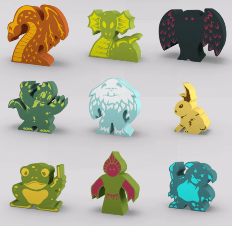 Cryptid Cafe meeples