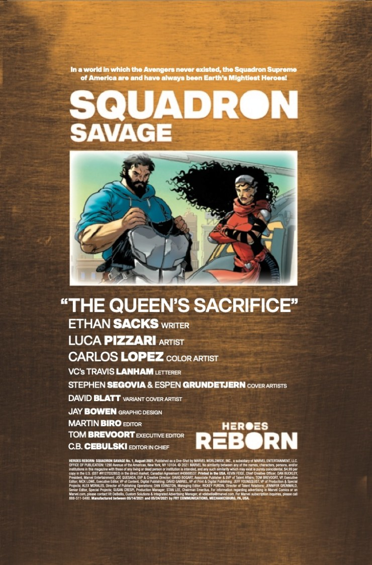 Marvel Preview: Heroes Reborn: Squadron Savage #1