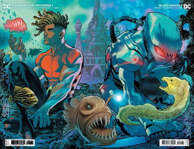 Aquaman: The Becoming #1 and Black Manta #1 connecting variant covers by Francis Manapul