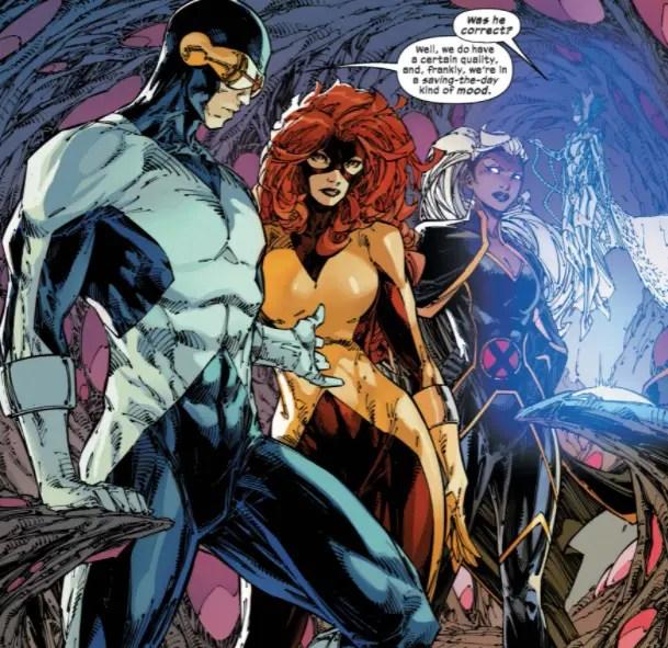 Jean, Scott, and Ororo in Spaaaaaace. X-Men by Jonathan Hickman Vol. 3