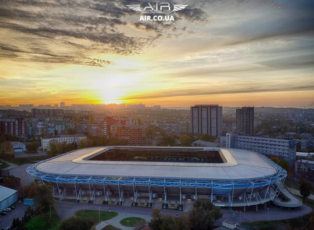 Beautiful drone photo of Dnipro-arena in the sunset