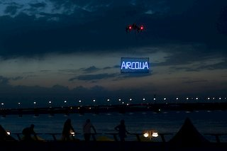 Aerial advertisement campaign in the night