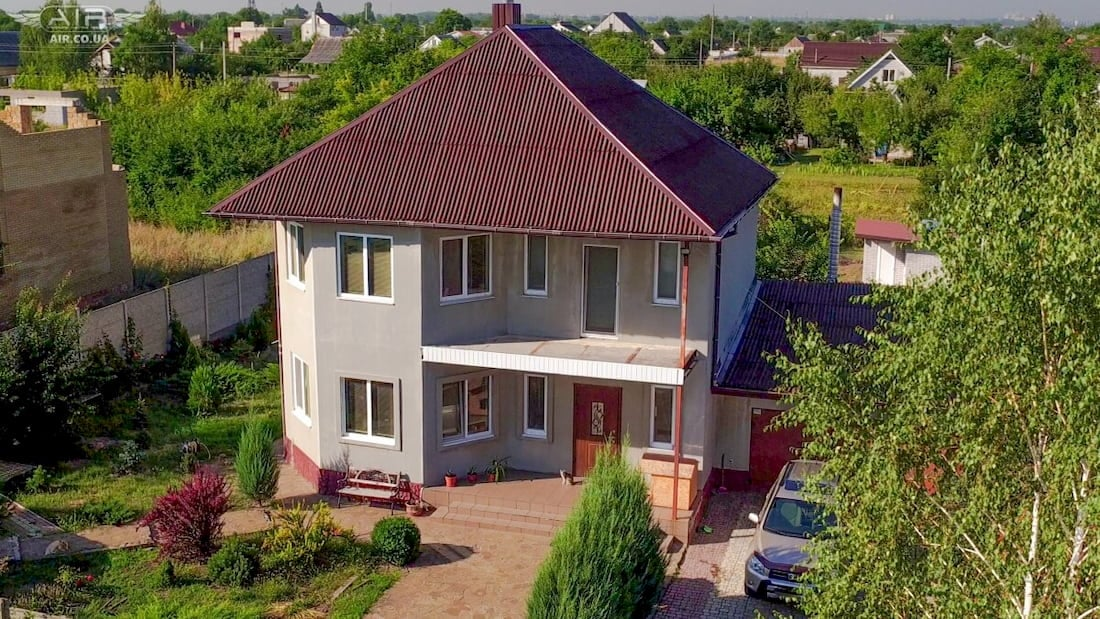 House for sale photo shooting with quadcopter
