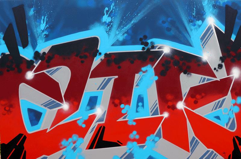 Toile peinture avec graffiti bleu rouge gris | Air1duc