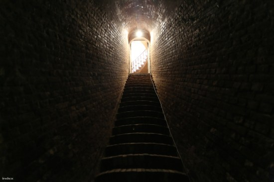Stairway to the underground water reservoir in Budapest