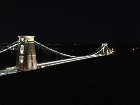 Clifton Suspension Bridge at nighttime