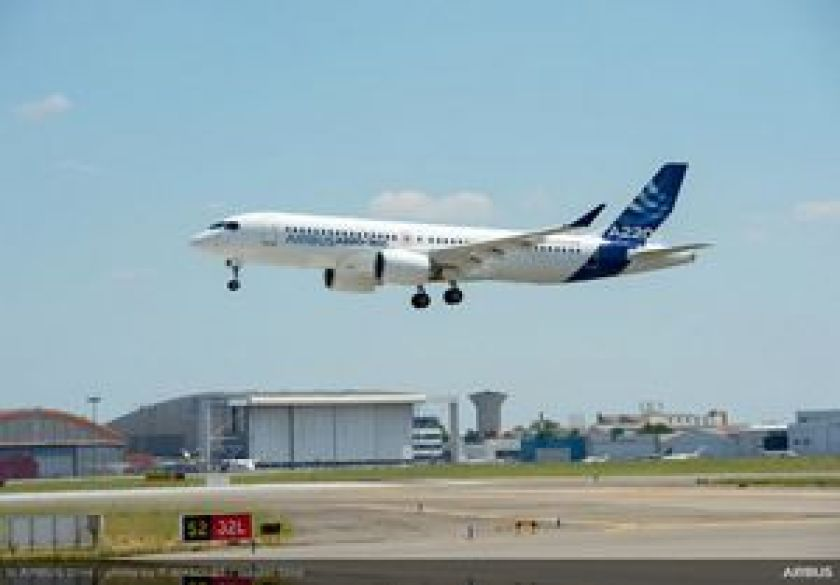 Airbus A220-300 new member of the airbus Single aisle Family - landing