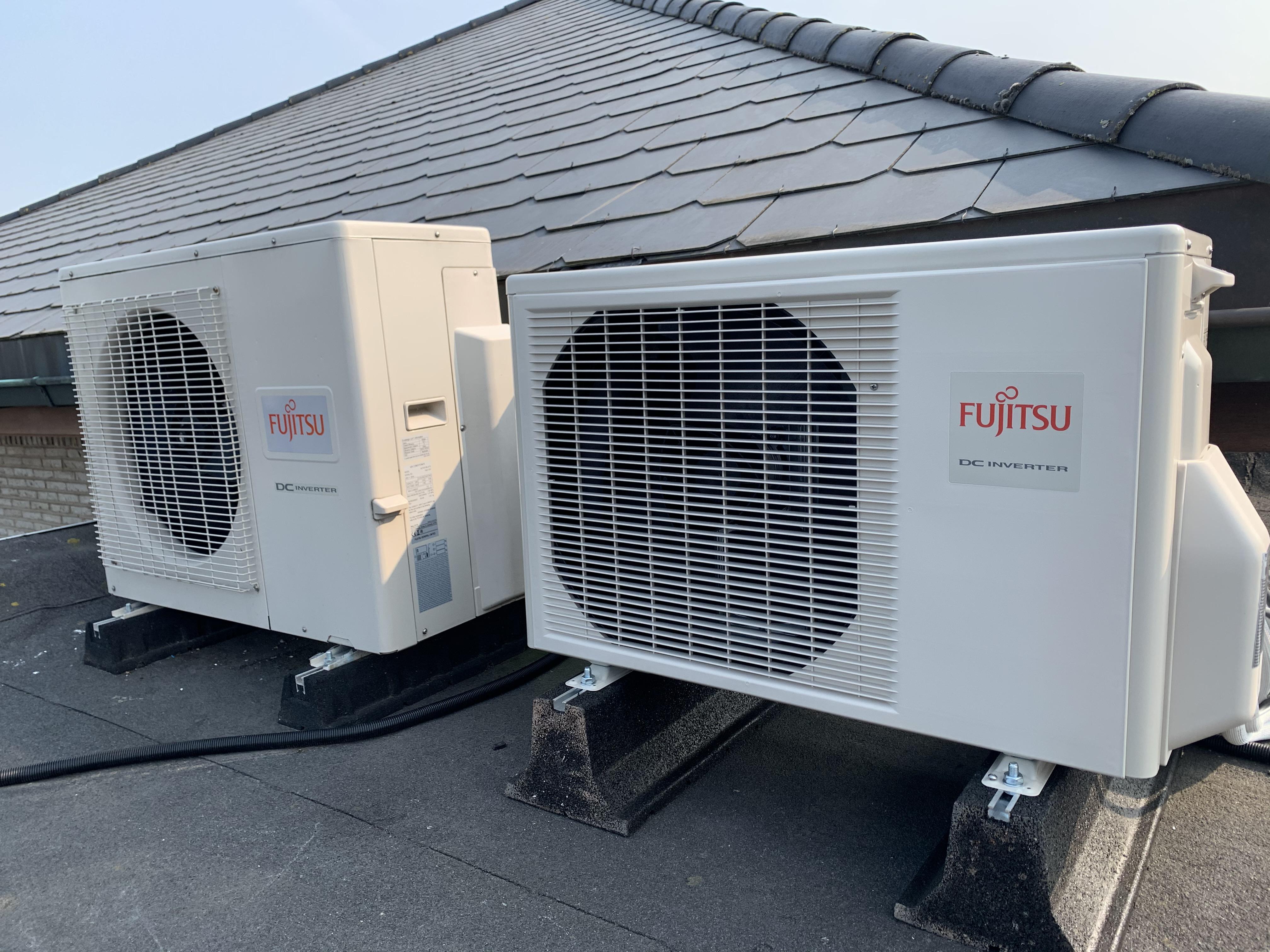 buitenunits warmtepomp rubber blokken Fujitsu