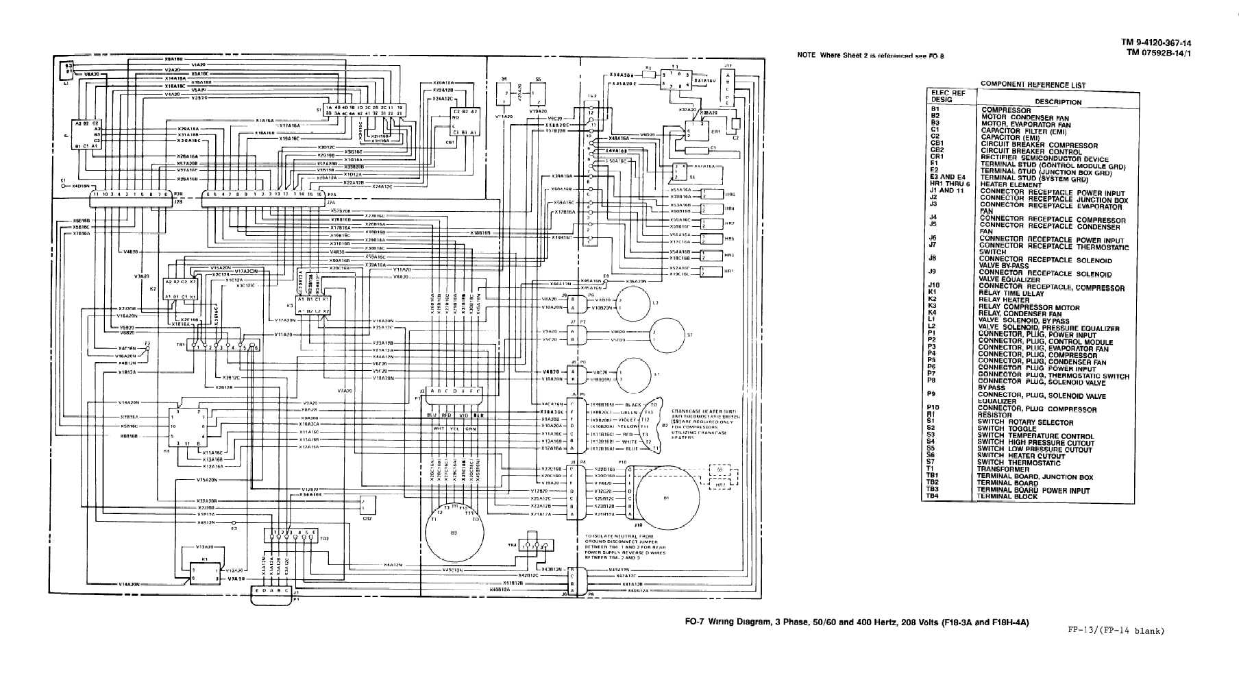Fo 7 Wiring Diagram 3 Phase 400 Hertz 208 Volts Model F18h 3a And F18h 4a