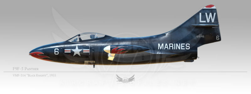 "F9F-5 Panther, VMF-314 ""Black Knights"", 1955"