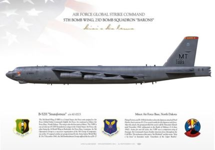 "B-52H Stratofortress ""Bomber Barons"", 5th Bomb Wing, 23rd Bomb Squadron profil print by Aviationgraphic.com"