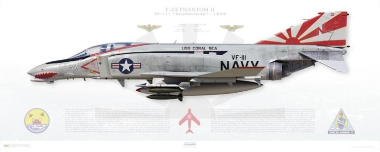 "F-4B Phantom, VF-111 ""Sundowners"" profile prints from Aircraftprofileprints.com"
