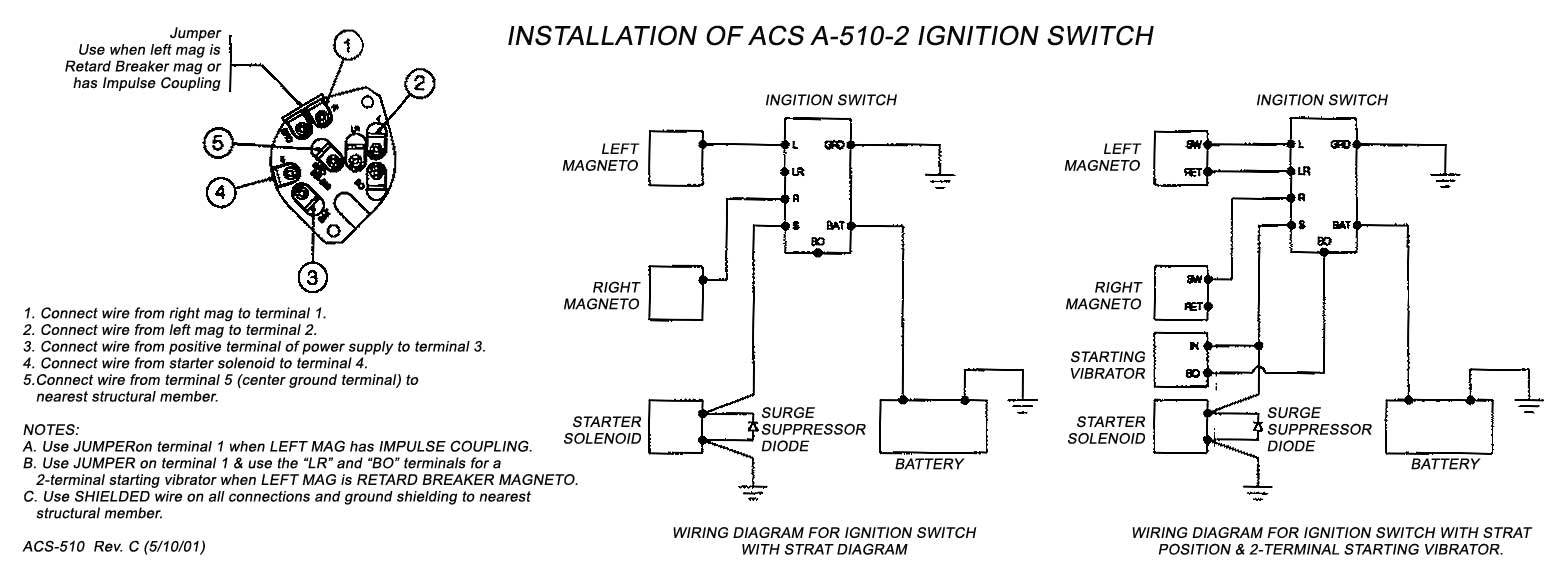 ACS KEYED IGNITION SWITCH WITH START POSITION A-510-2 FAA