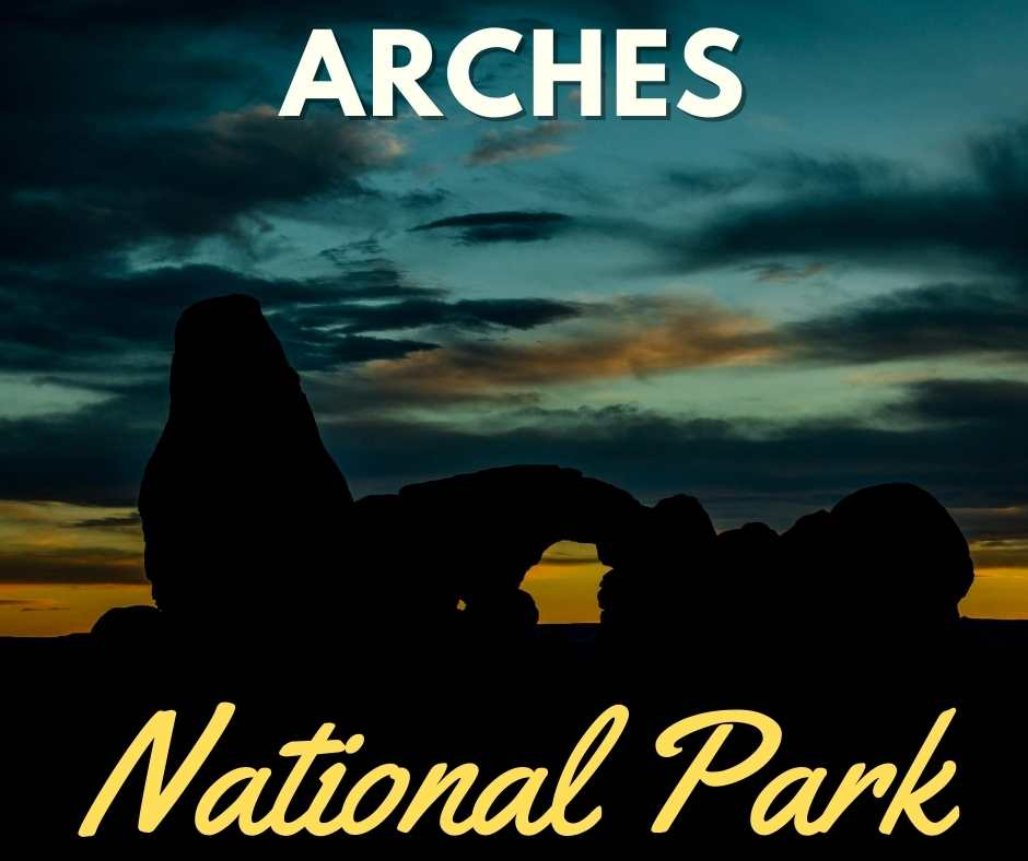 The sun setting at Arches National Park