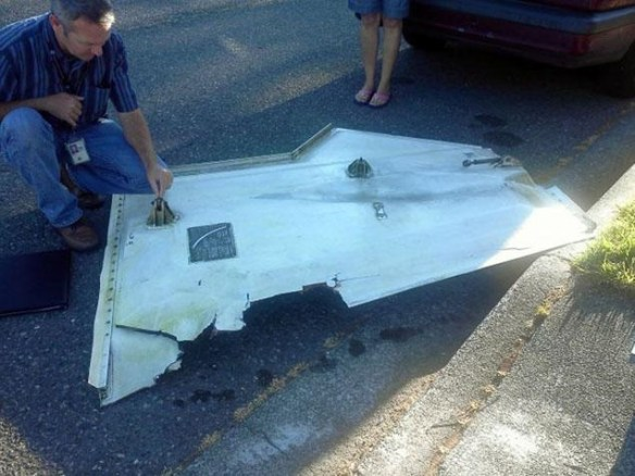 20120900.. B767 landing gear door fell from sky, Kent, WA