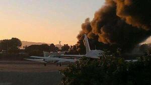 20130929pic.. C525 crash at KSMO, ramp & smoke plume