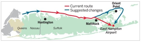 20140527.. Long Island Helo offshore route, map by Newsday