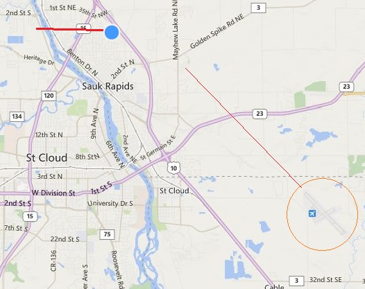 20140620.. Allegiant flight path (approx) ref KSTC and wake turb accident location