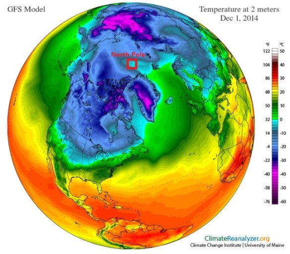 20141201.. northern Hemisphere temp at 2m (ClimateReanalyzer screencap)