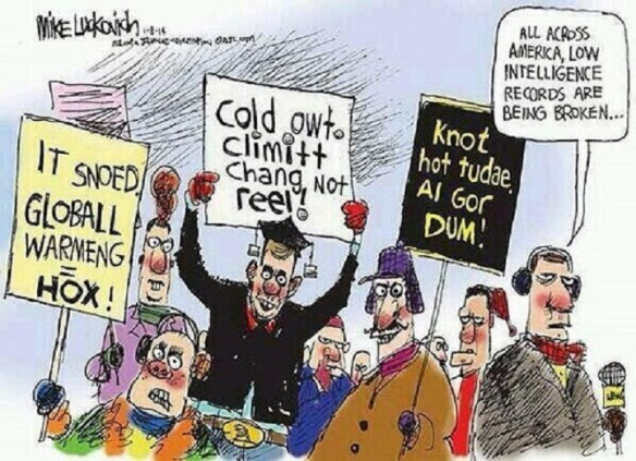20150202cpy.. Global Warming Hoax cartoon - setting low intelligence records (Lukovich)
