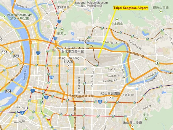20150204scp.. TransAsia Flight 235, map vicinity of Songshon Airport