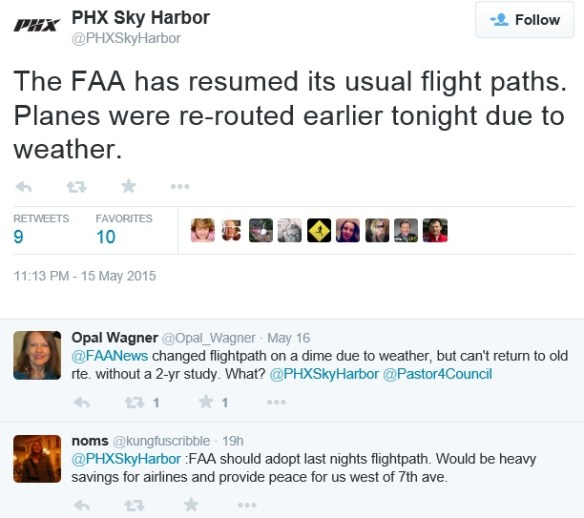 20150515at2313.. KPHX tweet re FAA resumes normal noisy flightpaths, 2comments