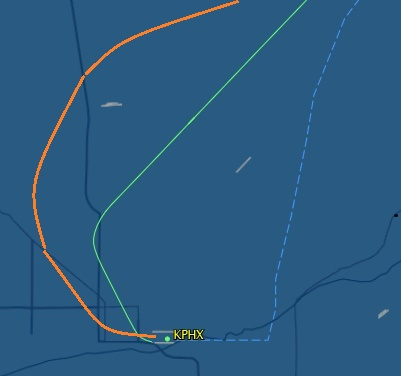 20150517.. comparison of JBU602 KPHX-KBOS, 5-14 (orange) vs 5-15WX (green)