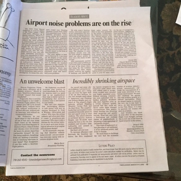 20160312.. TimesLedger full page of airport noise letters re NextGen failures KJFK & KLGA (Becce, Jehn, Will)