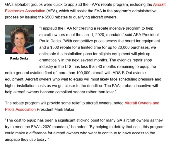 20160607scp.. portion of article re $500 ADS-B subsidy, alphabet groups (GANews)