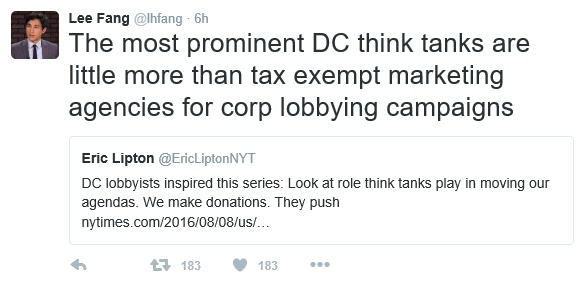 20160807at0505.. DC Think Tanks as corporate propagandists (L.Fang tweet re NYT article)