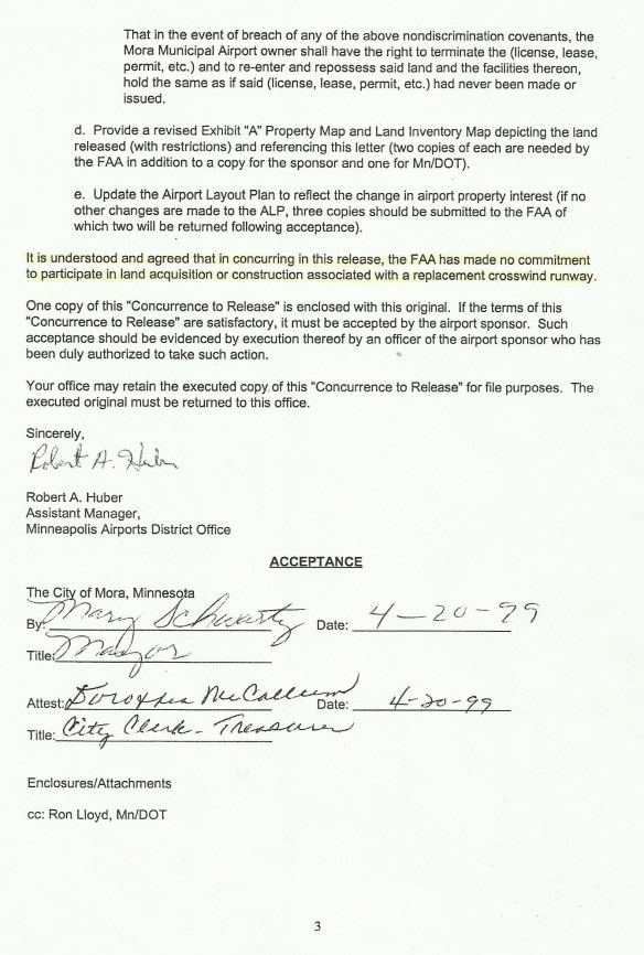 KJMR.19990420.. pg.3 of Agreement signed by City, with statement FAA not obligated to new XWND RWY