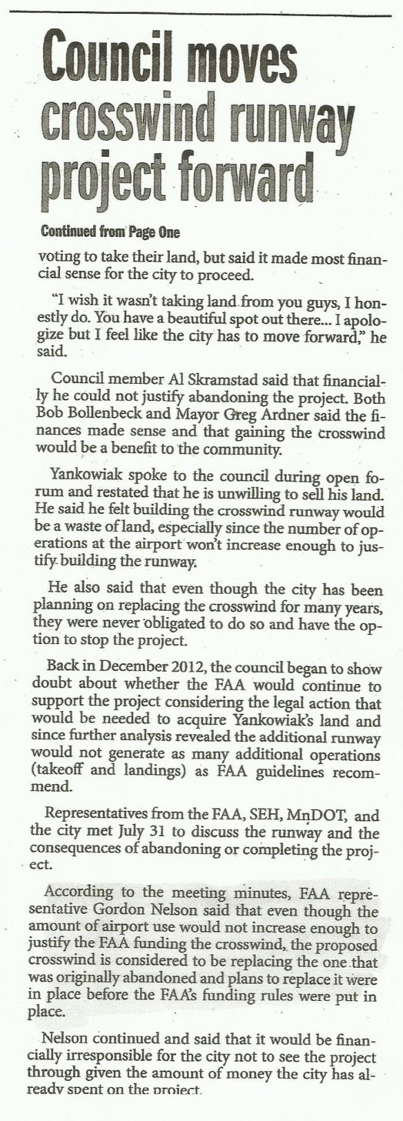 KJMR.20130829.. 'Crosswind Decision Comes Down to Dollars' pg.2 (K.Faurie, KanabecCountyTimes)