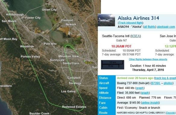 KSJC.20160407at1212.. ASA408 ARR from KSEA (flightaware)