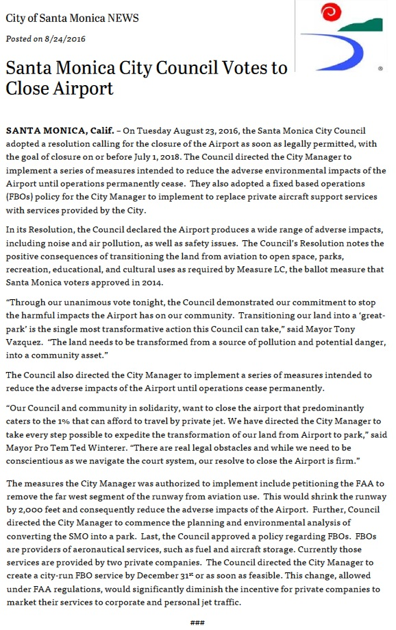 KSMO.20160824.. 'Santa Monica City Council Votes to Close Airport' (City of Santa Monica news release)