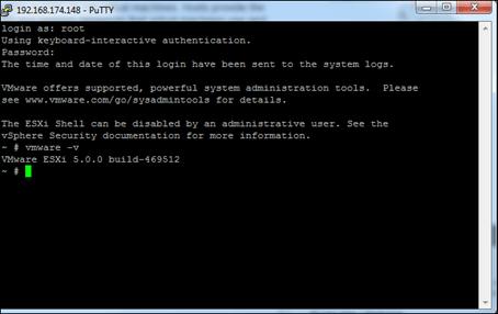 ESXi vSphere Version and Build SSH
