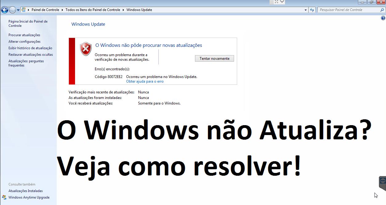 Windows Update não atualiza? Windows7 – Solução 2