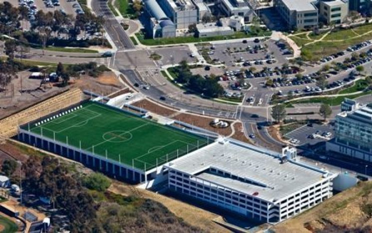 rooftop sportsfield, rooftop, synthetic turf, green roof, drainage, artificial turf, synthetic green roof