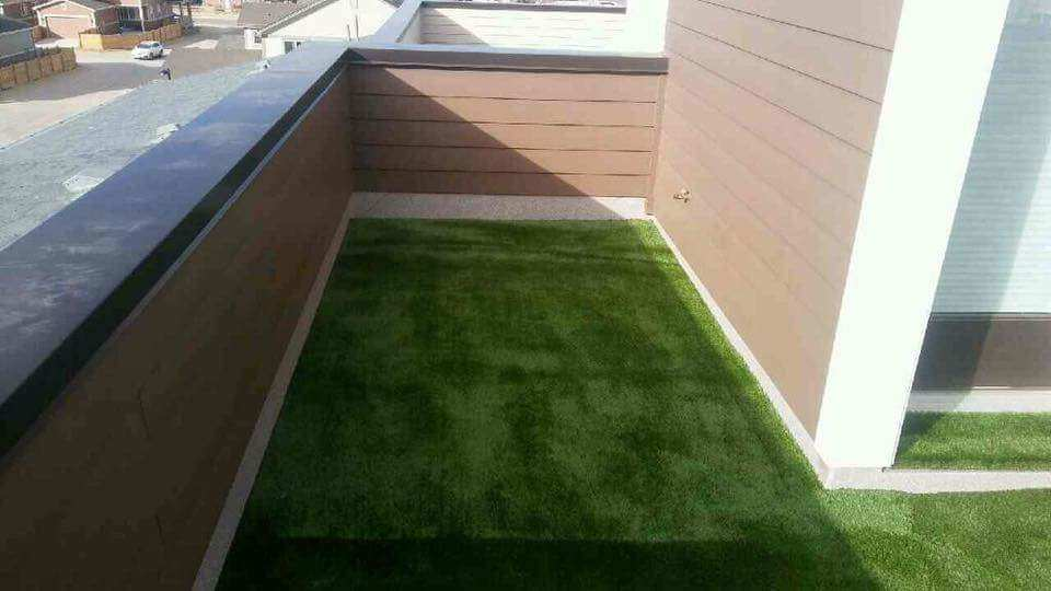 Artificial Grass with AirDrain on Roof Top Balcony Turf Pros Denver -