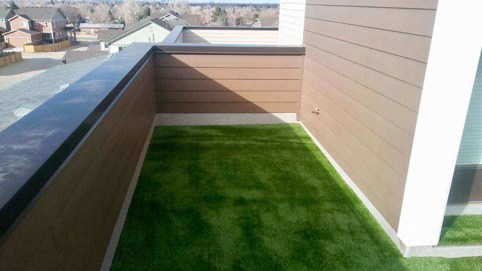 Artificial grass with airdrain on roof top balcony turf for Balcony artificial grass
