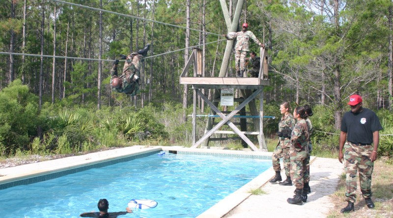 Air Force Fitness Obstacle Course Rope Bridge Climb Pool