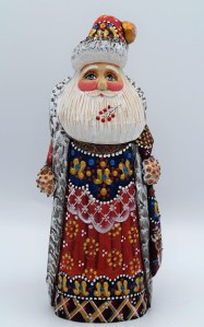 Hand-Carved Painted Santa Image