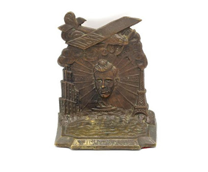 """Vintage Spirit of St. Louis Lindbergh Lindy Bookend and """"Lindbergh: His Story in Pictures"""" by Francis Trevelyan Miller, Signed Collector"""