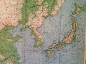 AAF Cloth Map, No. C-36, Central East Asia, 1945, China, Korea, Japan
